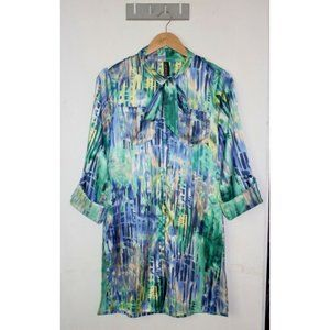 SALE Saopaulo Pussy bow Satin Tunic Top Size 10 3/4 Sleeve Abstract Button Up